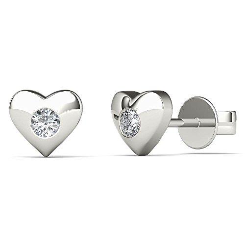 JewelAngel Kids Big Girl's Diamond Accent Heart Stud Earrings (H-I, I1-I2) 10K White Gold by JewelAngel Kids