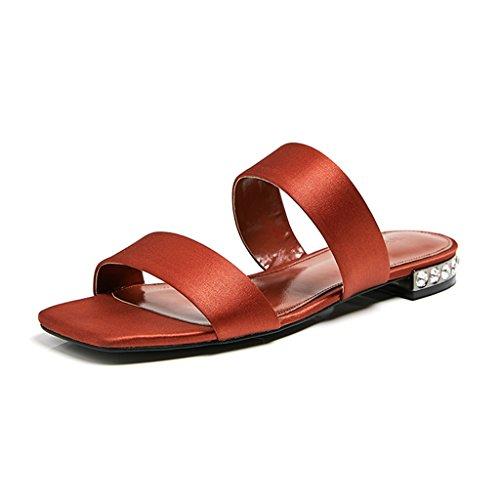 35 Moda Red Sardo Sandalias uk 39 Casual Sola Cuadrada us 39 Cabeza Yardas Pieza Retro Hembra Verano Tamaño Vampiresco 8 color De 6 Una Jianxin Planas Eu Zapatillas azxx6n