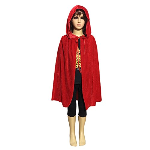 Unisex Children Hooded Cloak Cape Kids Role Play Costume Halloween Party Cape (Medium, Red)