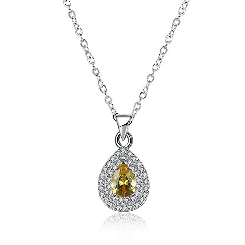 low Gemstone Zircon Fashion Deluxe Drop Pendant Silver Chain of Clavicle Necklace ()