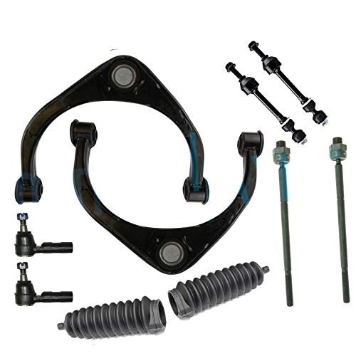 Detroit Axle - 10PC Front Upper Control Arms w/Ball Joints, Sway Bars, Inner and Outer Tie Rods w/Rack Boots for 2009 2010 2011 2012 Dodge Ram 1500 4WD 4x4 Only