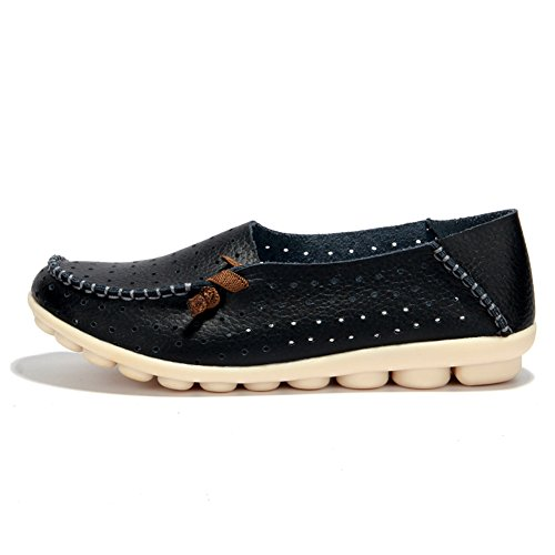 Schuhe Leder aus Slipper Schwarz Flache 2 Mokassins Casual mit Lederschuh SCIEU Damen qtzH4xnR