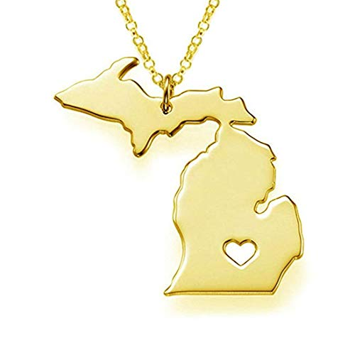 Tmrow Gold Tone Stainless Steel Map Pendant Necklace, We Love Michigan, MI -