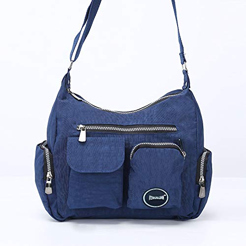 YNNB Freizeit Leinwand Frauen Bag, Fashion Ladies Multi-Taschen-Shoulder Bag Large Large Large Capacity Portable Crossbody Bag Weekend Overnight Bag Travel Bag,Blau B07PY7ZPVF Rucksackhandtaschen Mode neue Erfahrung 890f9b