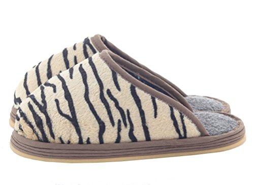 Iduoduo Mens Donna Bambino Accogliente Strisce In Pile Pantofole Calde Casa Piatta Cotone Pantofola Tigre (bambini)