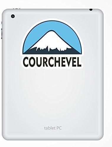 2 x 10cm Courchevel Ski Snowboard Vinyl Sticker iPad Laptop Luggage Travel #5131