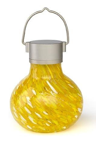 Allsop Home and Garden Solar Tea Lantern, Handblown Glass with Solar Panel and LED Light, Weather-Resistant for Outdoor Deck, Patio, Garden, Wedding, Saffron, - Allsop Led Solar Lantern
