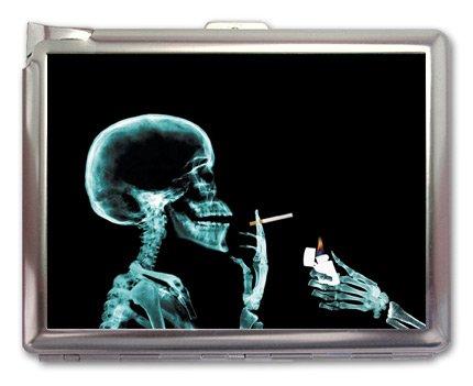 Smoking Skull Cigarette Case Lighter or Wallet Business Card Holder