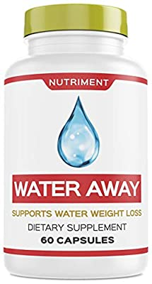 Water Away Herbal Natural Diuretic Weight Loss Blend with Juniper Berry, Green Tea, Paprika 60 Capsules