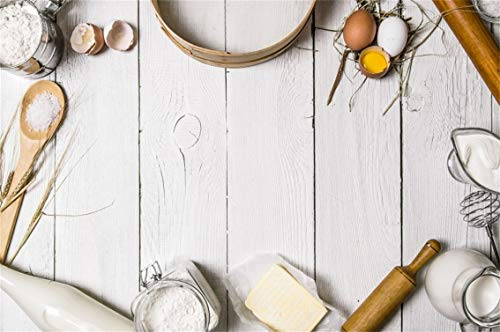 (CSFOTO 7x5ft Background Baking Ingredients for Dough and Tools Photography Backdrop Cooking Pastry Bakery Food Preparation Utensil Table Eggs Flour Homemade Photo Studio Props Polyester Wallpaper )