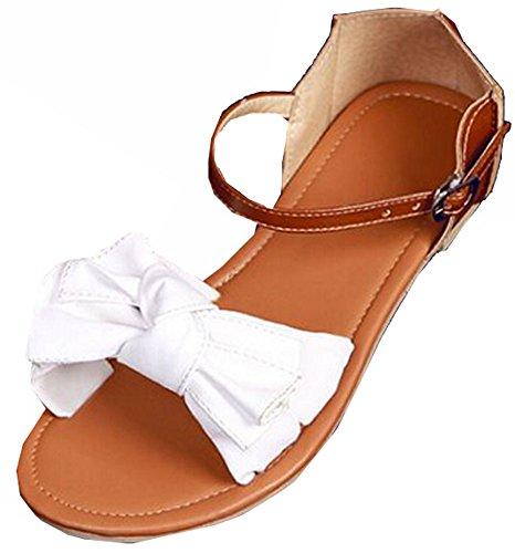 2015 neue FrauenSommerSandalen Flats Sandalen Flip Flops Patchwork Designer  Ladies PlattformSandelholze Größe 3442 weiß