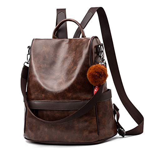 Women Backpack Purse PU Leather Anti-theft Casual Shoulder Bag Fashion Ladies Satchel Bags (Brown)