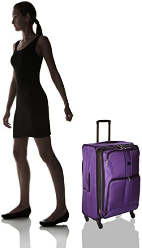 DELSEY Paris Sky Max 2.0 Softside Expandable Luggage with Spinner Wheels, Purple, Checked-Medium 25 Inch