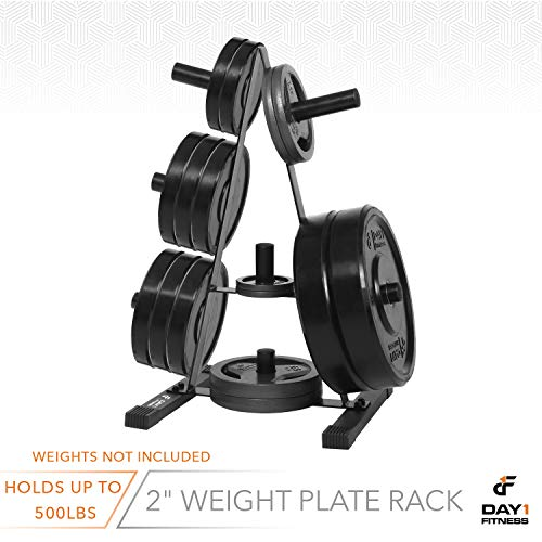 "Olympic Weight Plate Rack, Holds up to 500lb of 2"" Weights by D1F - Black Weight Holder Tree with 7 Branches for Stacking and Storing High Capacity Weights- Heavy-Duty, Durable Triangle Plate Racks by Day 1 Fitness (Image #6)"