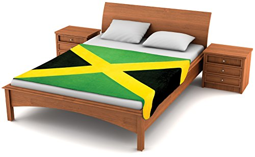 Fuzzy FlagsTM Fleece Jamaican Flag Blanket - 80-inch x 50-inch Oversized Flag of Jamaica Travel Throw Cover (Rasta Color Blanket)
