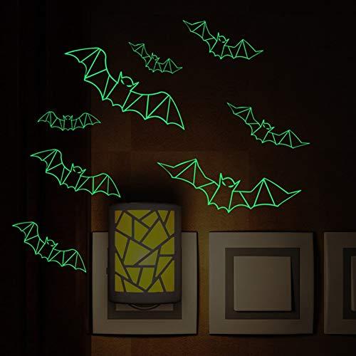 Linker Wish Bat Wall Stickers Halloween Wall Decor 3D Bats Luminous Sticker Poster Night Light Bedroom Fluorescent Sticker