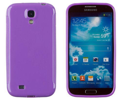 Premium Colorful Glossy Flexible TPU Gel Case for Samsung Galaxy S4 (S IV, i9500) - Includes DandyCase Keychain Screen Cleaner [Retail Packaging by DandyCase] (Purple)