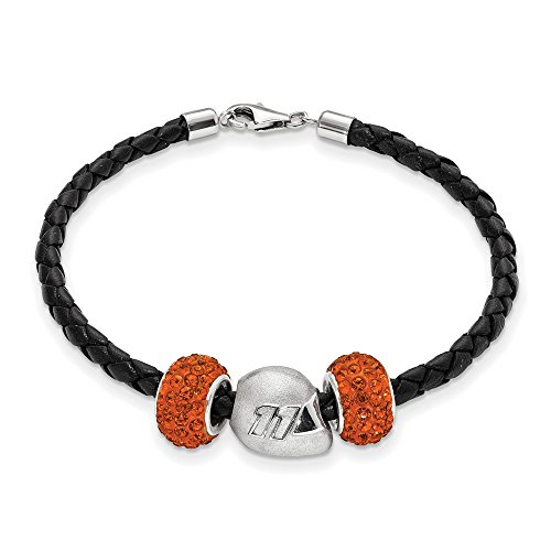 Denny Hamlin #11 Two Orange Crystal Silver Beads Helmet & Black Leather Bracelet by Jewelry Stores Network