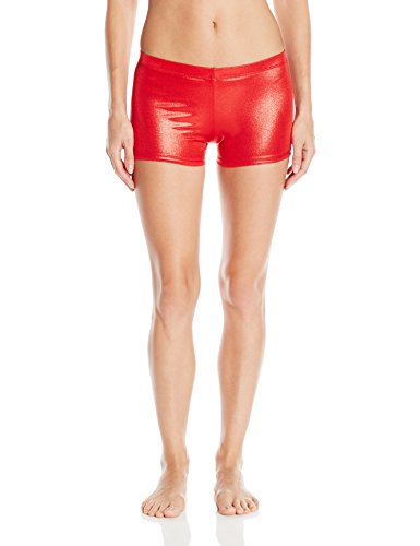 [Gia-Mia Dance Women's Metallic Short Yoga Jazz Hip Hop Costume Performance Team, Red, XL] (Jazz And Hip Hop Costumes)