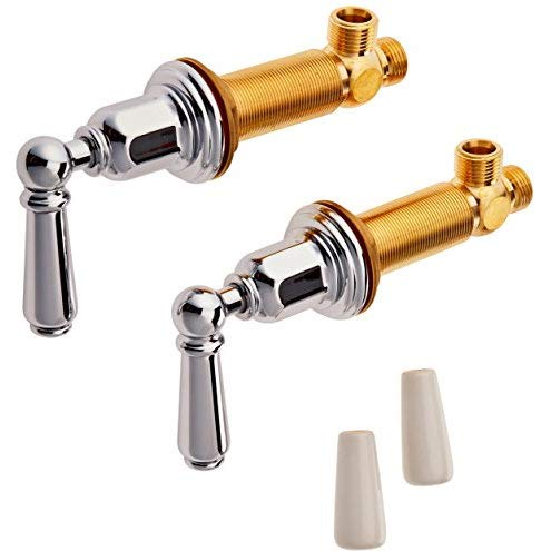 Pn Polished Nickel Porcelain - Rohl U.3270L-PN-2 PERRIN & ROWE PAIR OF TWO 1/2^ DECK SIDEVALVES ONLY POLISHED NICKEL WITH LEVERS (INCLUDES BOTH PORCELAIN AND METAL LEVER INSERTS) P&R DSP UPDATE SET PRC LVR PN