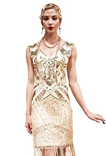 Radtengle Womens Flapper Dress 1920s Vintage Sequined Beaded Fringed Dress Great Gatsby Party Dress