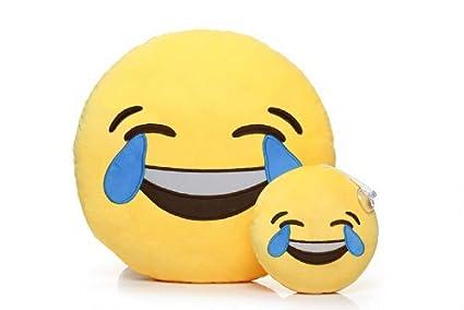 Emoji Cojin Almohada Juguetes de Peluche Suave y Linda Decora tu Hogar (Reír y llorar