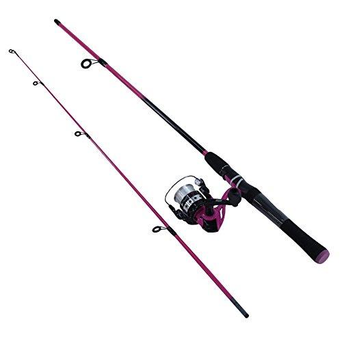 Zebco Combo Pesca Splash Carrete Abierto Spinning con Linea Pesca y Caña de 6 Pies, Color Rosa, 8 LB