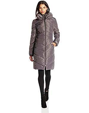 Women's Long Chevron-Quilted Down Coat With Hood