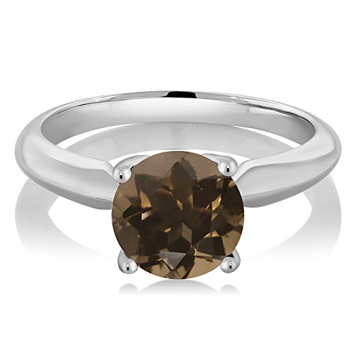Gem Stone King 1.70 Ct Round Brown Smoky Quartz 925 Sterling Silver Solitaire Solitaire Engagement Ring (Size 5)