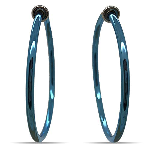 Silver Spring Hoops Earrings Clip On-Small, Medium & Large Silver Clip Hoop Earrings for Women (Blue ()
