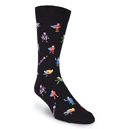 K. Bell Socks Men's Fun Occupational Novelty Crew Socks, Super Heroes (Black), Shoe Size: 6-12