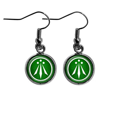 Celtic Symbol - The Awen - Three Rays of Light - White on Green Surgical Steel Earrings
