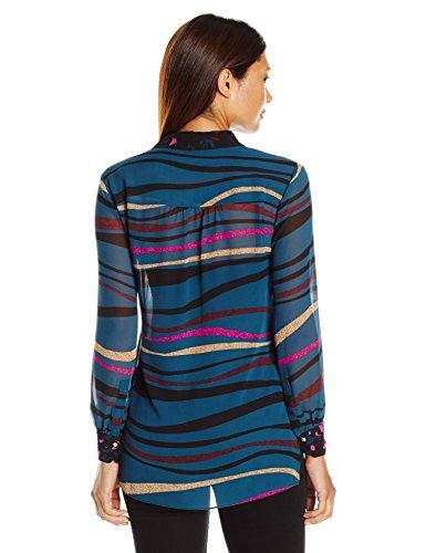 Ellen Tracy Women's Size Stepped Hem Shirt, Wave Multi, Petite Medium
