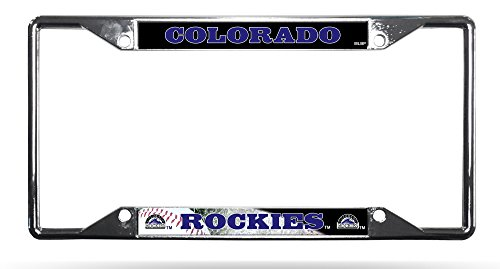 Rico Industries Colorado Rockies EZ View LBL Chrome Frame Metal License Plate Tag Cover ()