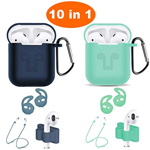 Airpods Case, Airpods Accessories Kits, 10 in 1 Protective Silicone Cover Skin Apple Airpods Anti-Lost Airpods Strap, Airpods Watch Band Holder, Airpods Ear Hook (Light Green and Blue)