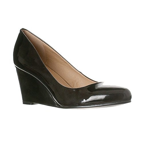 - Riverberry Women's Leah Mid Heel Round Toe Wedge Pumps, Black Patent, 8.5