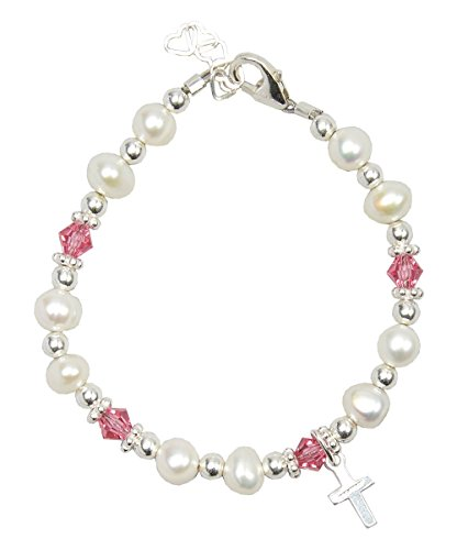 (Christening White Cultured Fresh Water Pearls and Pink Swarovski Crystals with Sterling Silver Cross Luxury Keepsake Toddler Girl Bracelet)