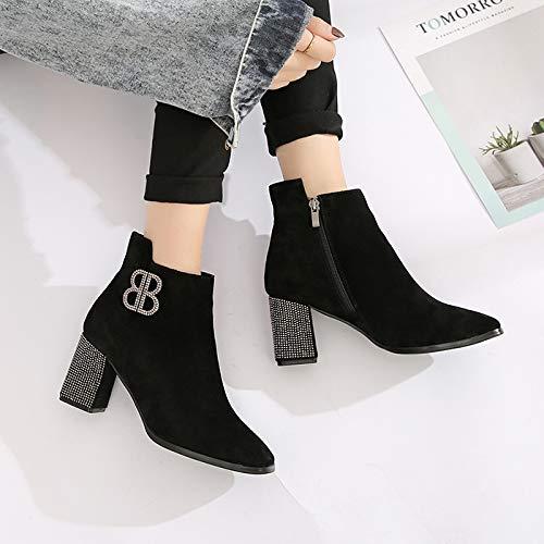 HBDLH Damenschuhe Dünn Kurze Stiefel Stiefel Stiefel Heel 7 cm Dicke Sohle Wasser Läuft Winter Samt Buchstabe B Martin - Flut ccdb1f