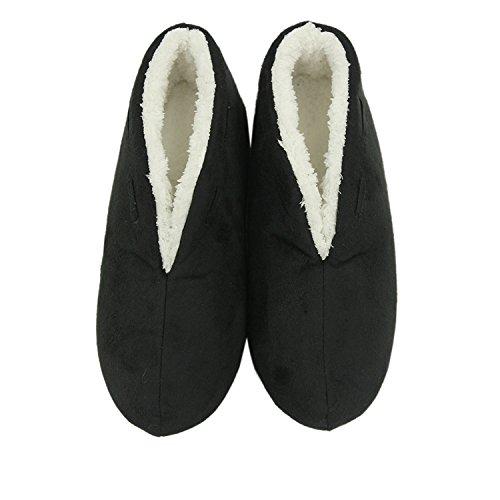 Pantofole Donna Da Passeggio Caldo Peluche Antiscivolo Antiscivolo Su Stivali Interni Scarpe Da Casa Nere