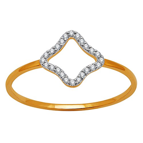 Squares Fancy Wedding Bands - 14KT Yellow Gold Fancy Square Shape diamond Fashion Band Ring (0.07 Ct) - IGI Certified