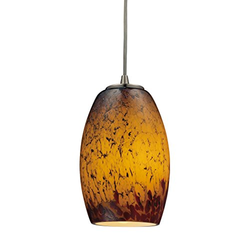 Alumbrada Collection Maui 1 Light Pendant In Satin Nickel And Sunset (Luminaria Maui)