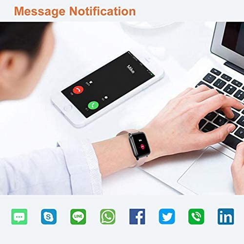 YAMAY Smart Watch 2020 Ver. Watches for Men Women Fitness Tracker Blood Pressure Monitor Blood Oxygen Meter Heart Rate Monitor IP68 Waterproof, Smartwatch Compatible with iPhone Samsung Android Phones 4