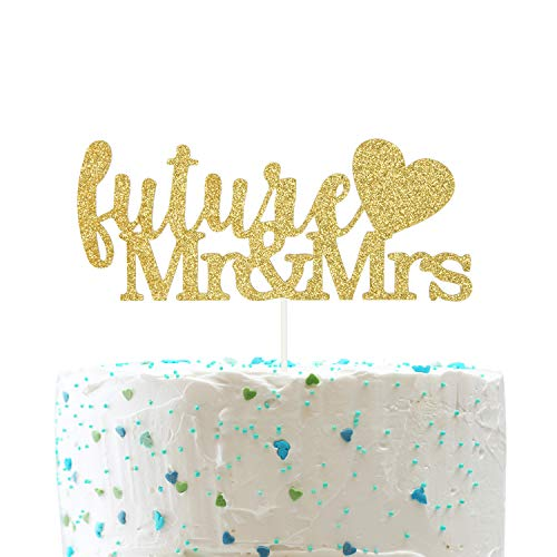 Future Mr & Mrs with Heart Cake Topper, Future Husband and Wife Cake Topper, Engagement Party Decorations (Double Sided Gold Glitter) -