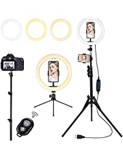 Lomotech Ring Light with Tripod Stand and Phone Holder, 10 INCH Selfie Ring Light, Camera RingLight Perfect for Video Recording, Live Streaming, Makeup, Selfie, Compatible with i Phone & Android Phone (Desktop stand + High stand)