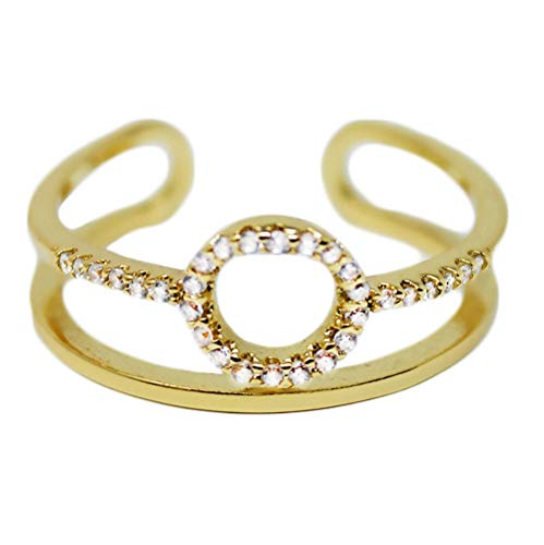 Jules Smith Halo Cuff Ring with Pave CZ Crystals - 14k Gold Ring for Women with Adjustable Open Ends for Perfect Sizing - Real Gold Plated Cuff Ring with Pave Cubic Zirconia Crystals