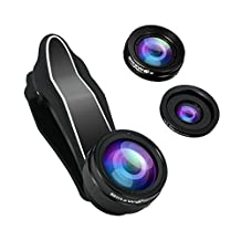 Phone Camera Lens, BlitzWolf 3 in 1 Universal Phone Camera Lens Kit 230 Degree Fisheye Lens+0.63X Wide Angle Lens+15X Macro Len with Clip for iphone Android Smartphones