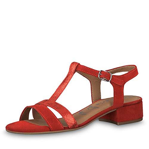 Mujer Sandalia 515 Para 1 1 22 Tamaris 28119 lipstick Rojo Pulsera Con HI6q8xw