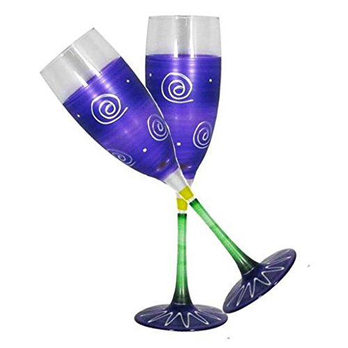 Hand Painted Frosted Champagne Glass - Golden Hill Studio Champagne Flute Glasses Hand Painted in the USA by American Artists-Set of 2-Frosted Curl Dot Purple Collection