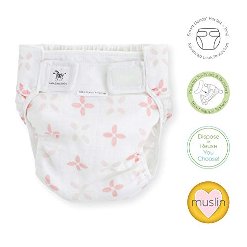 SmartNappy Cotton Muslin by Amazing Baby, NextGen Hybrid Cloth Diaper Cover + 1 Tri-fold Reusable Insert + 1 Reusable Booster, Springfield, Pink, Size 4, 22-40 lbs