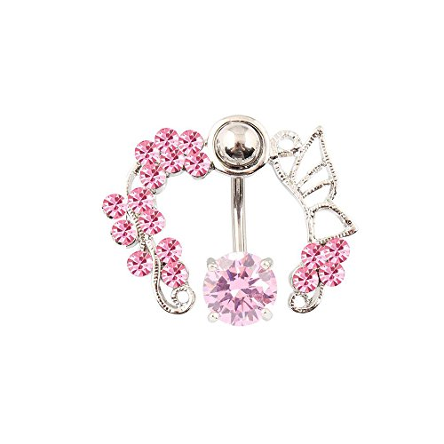 Crystal Butterfly Belly Ring - Sexy Women Pink Butterfly Crystal Flower Navel Belly Ring Studs Piercing Jewelry